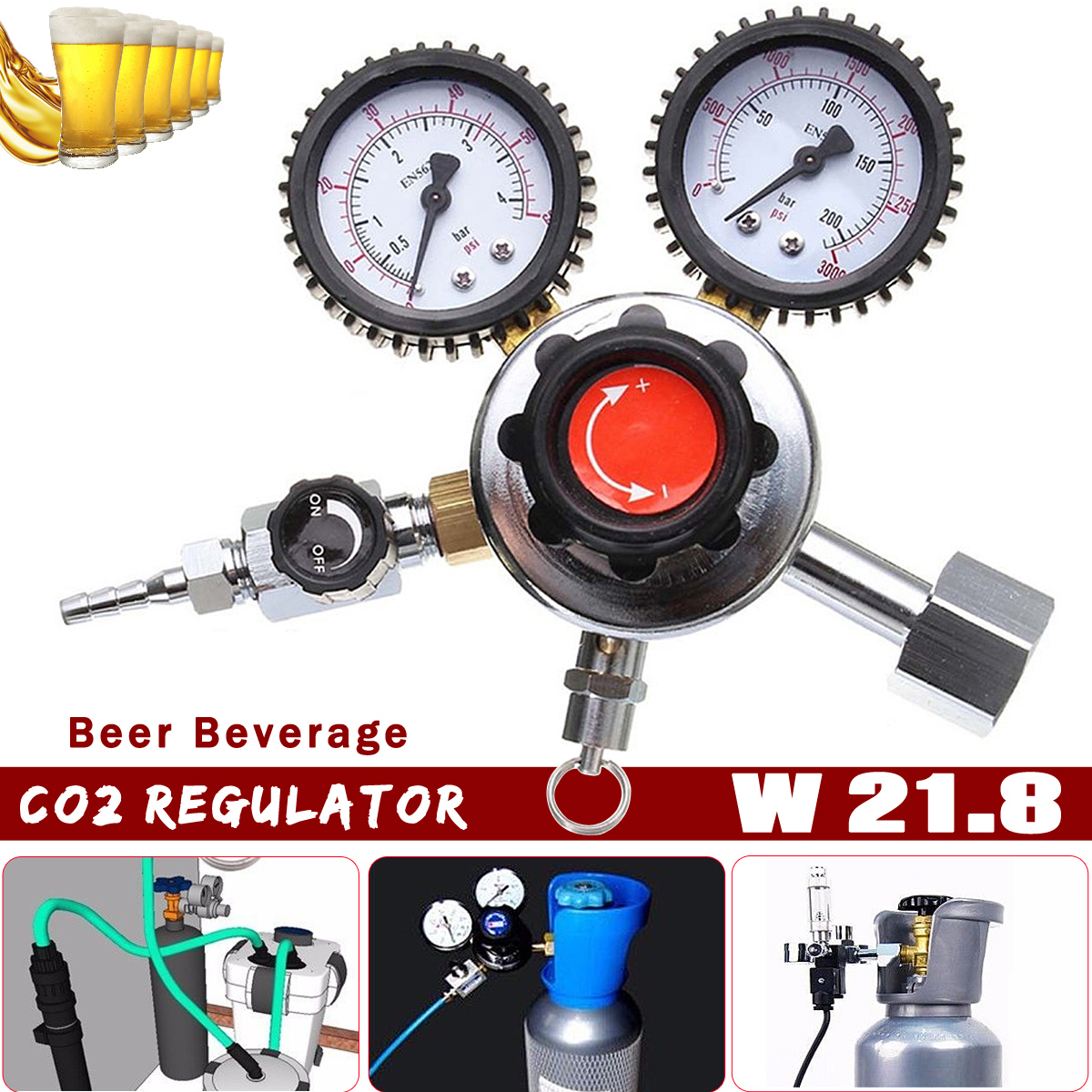 Zeast 1Pcs Dual Gauge CO2 Regulator Beer Beverage Decompressor Home Brew Gas Bar Accessories Beer Carbon Dioxide Reducer factory direct carbon dioxide gas welding gas mixture co2 pressure reducer heating accessories table gh100