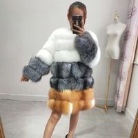 2018 new real fox fur coat ladies long winter fur jacket warm long sleeved clothes