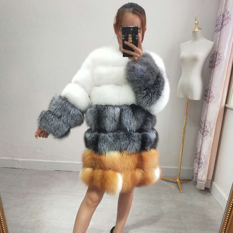 2018 new real fox fur coat signore lungo inverno pelliccia calda giacca a maniche lunghe vestiti