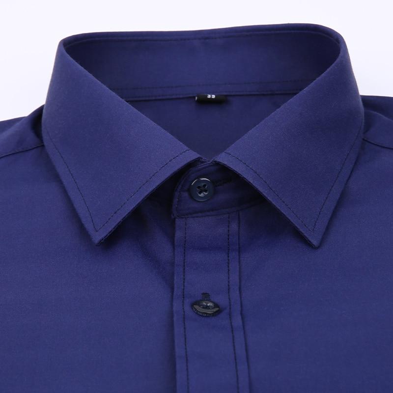 Plus Large Size 8XL 7XL 6XL 5XL Mens Business Casual Long Sleeved Shirt Classic White Black Dark Blue Male Social Dress Shirts 3