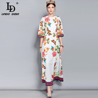 LD LINDA DELLA New Fashion Designer Runway Dress Women S 3 4 Sleeve Split Vintage Butterfly