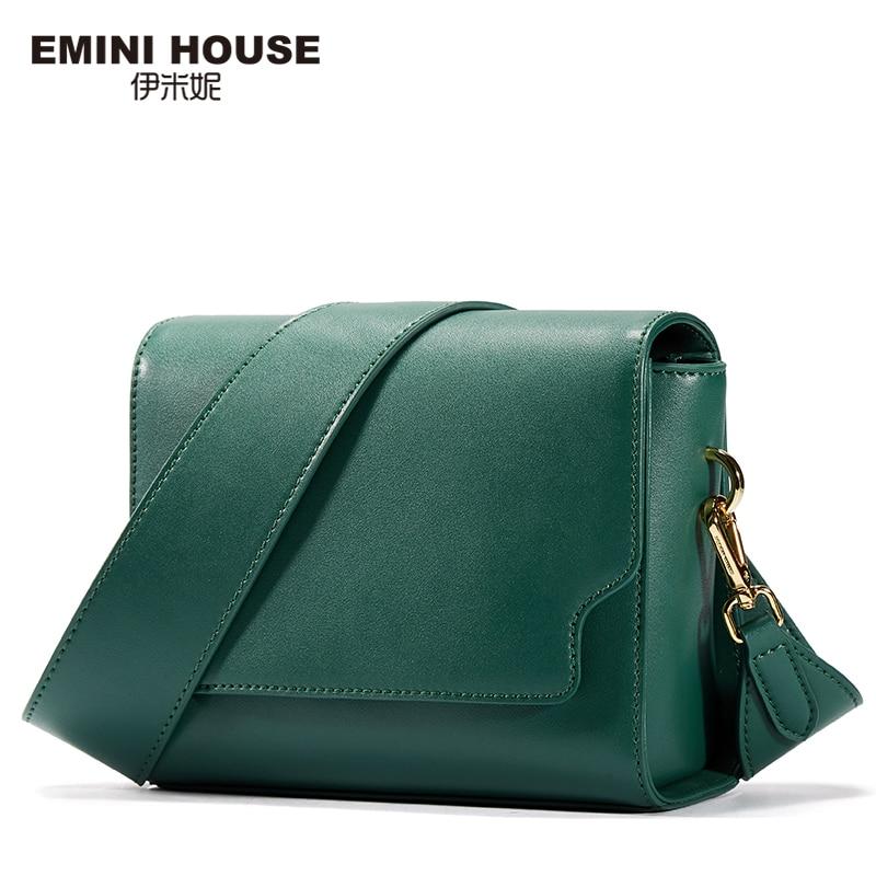 EMINI HOUSE Fashion Wide Belt Flap Bag Split Leather Women Messenger Bags Retro Women Shoulder Bag Crossbody Bags For Women fashion house