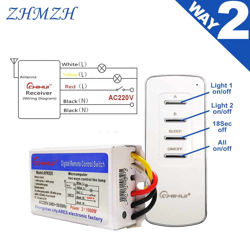 CHIHUI AC 220V--240V 4 Way 5 Sections ON/OFF Smart Digital Wireless Remote Control Switch Receiver Transmitter for Lamps 3 Ways