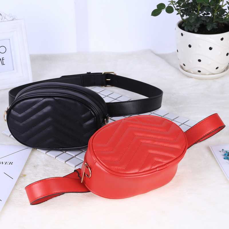 3a2f24e3b3d ... Belt Bag Waist Bag Round Fanny Pack Women Luxury Brand Leather Handbag  Red Black Beige 2019