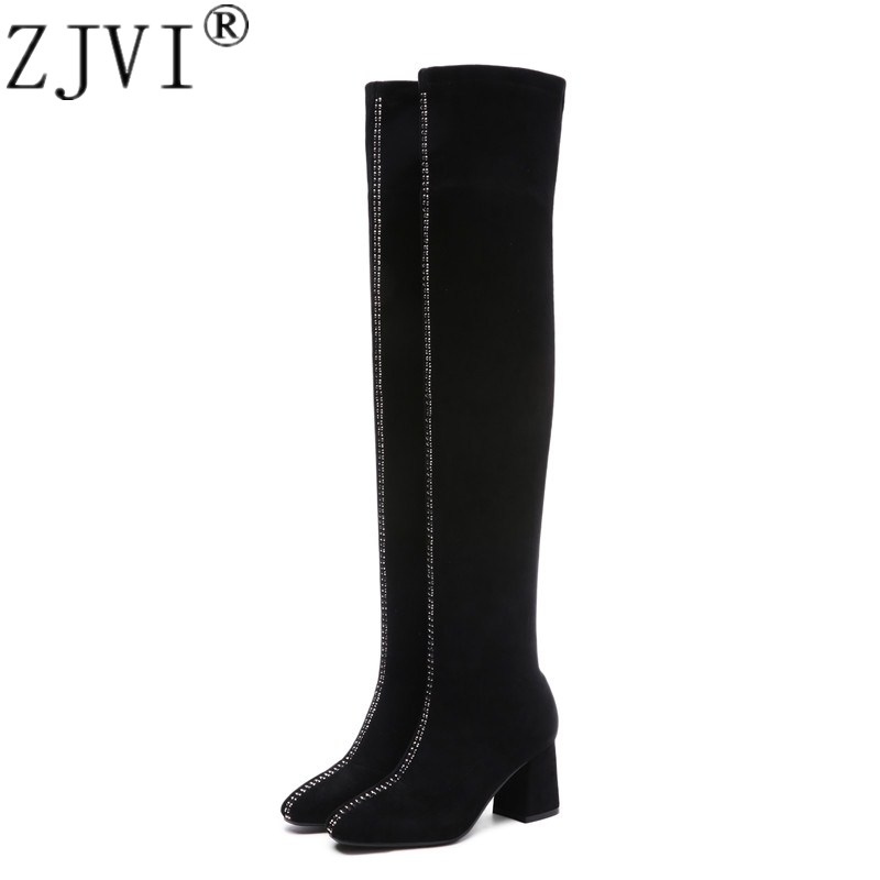 ZJVI 2018 woman sexy suede leather thigh high boots women autumn winter over the knee boots womens square high heels black shoes winter new leather suede sexy women over the knee boots metallic thin high heels back zipper women boots black botas shoes