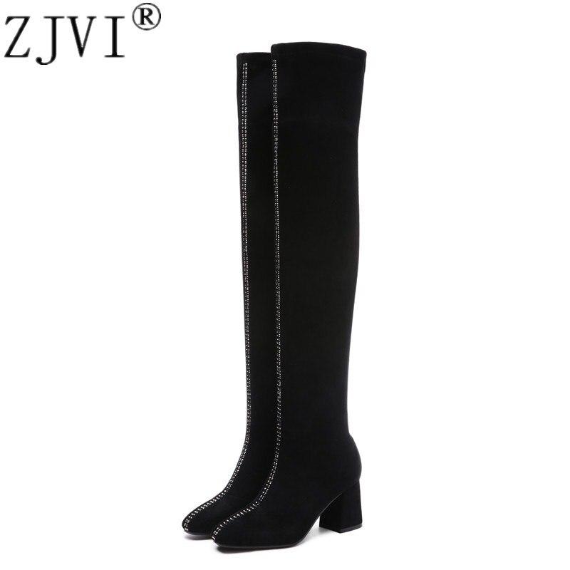 black Automne Femme Hauts Black Cuir Chaussures Bottes Zjvi Hiver Genou Winter Sexy 2019 Le Carré En Talons Cuissardes Femmes Noires Sur Autumn Suédé vmONw8yn0P