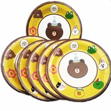 6pc/set Teddy Bear paper plates party supplies kids birthday Decoration Cartoon theme Disposable set