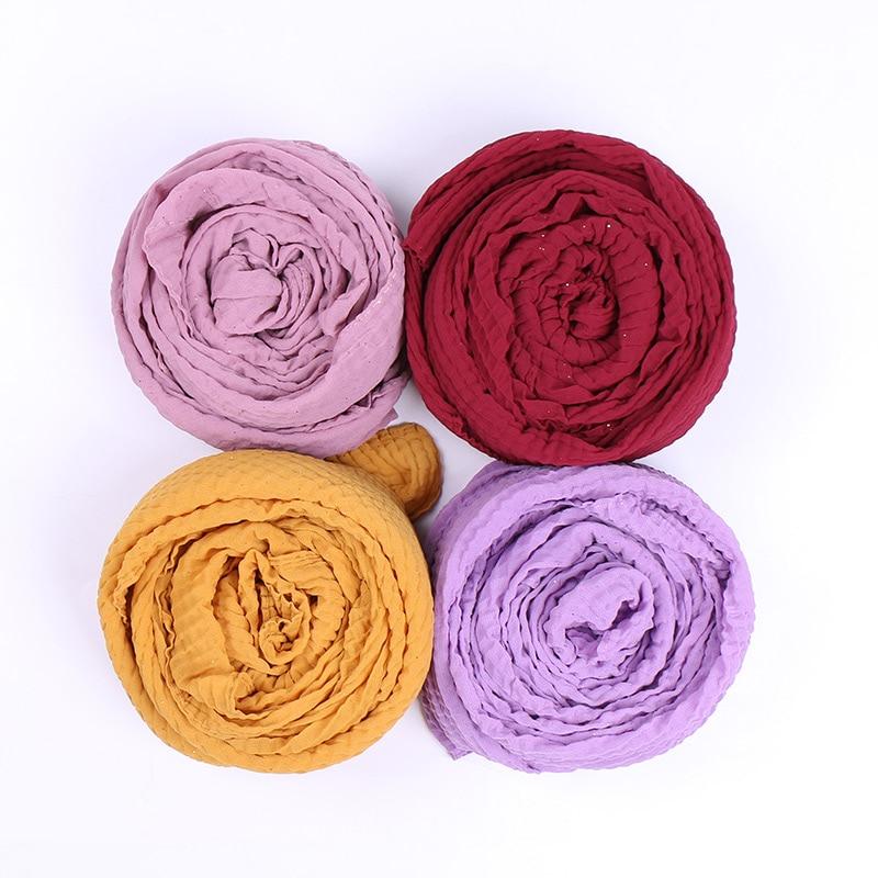 Fashion Glitter Scarf Bubble Chiffon Hijab Shiny Pleated Scarves Shawl Muslim Hijabs Solid Color Headband 20pcs/lot
