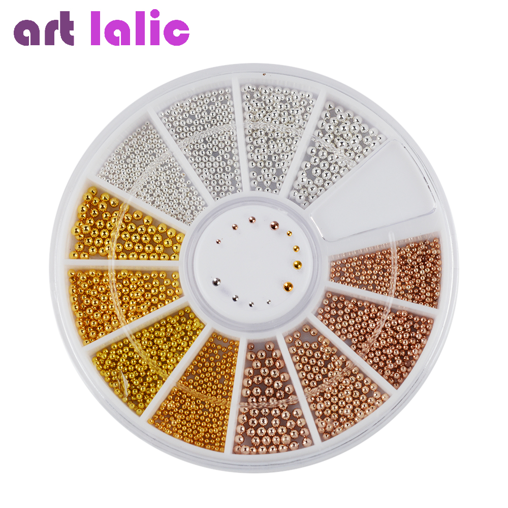 Artlalic  Nail Art Tiny Steel Caviar Beads Mix Size 3D Design Manicure Jewelry Rose Gold Silver DIY Decoration Wheel Wholesale