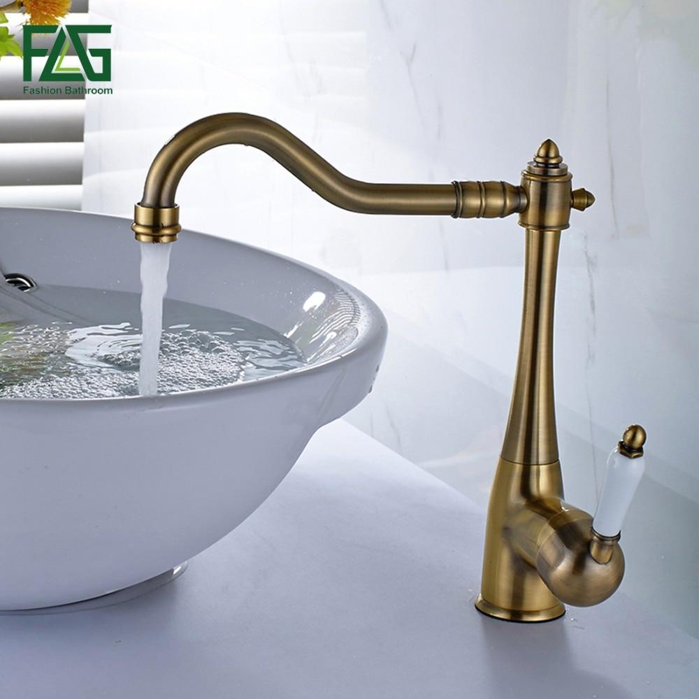 FLG Euro Basin Faucet Sink Faucet Brushed Nickel Cold Hot Porcelain ...