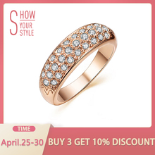 UMODE clásico anillos mujer bague aros de oro Color de rosa diamantes de imitación tachonado anillos de dedo JR0084A