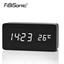 FiBiSonic Wooden LED Alarm Clock Display Date+Time+Celsius/Fahrenheit Temperature Sound Control Function A Table Desktop Clocks