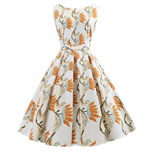 цены Summer Floral Print Sleeveless Party Dresses Vestidos Vintage Dress 50s 60s Elegant Rockabilly Sexy Pin Up Dress with Belt