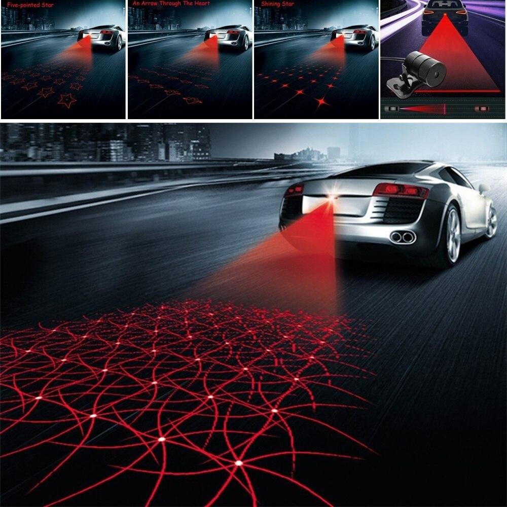 Novo padrão anti colisão traseira-fim do carro laser cauda luz de nevoeiro freio automático lâmpada de estacionamento criação luz de advertência estilo do carro dc12v