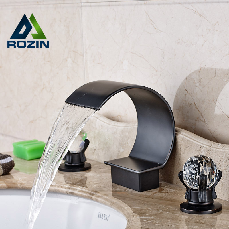 Creative Oil Rubbed Bronze Washbasin Mixer Faucet Waterfall Two Handle Bathroom Mixer Taps allen roth brinkley handsome oil rubbed bronze metal toothbrush holder