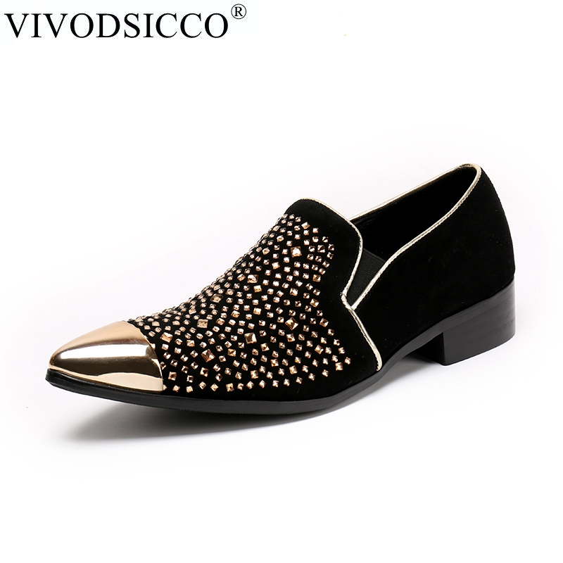 3c1f58bc29e VIVODSICCO New Men Loafers Shoes Luxury Rhinestone Metal Toes Man ...
