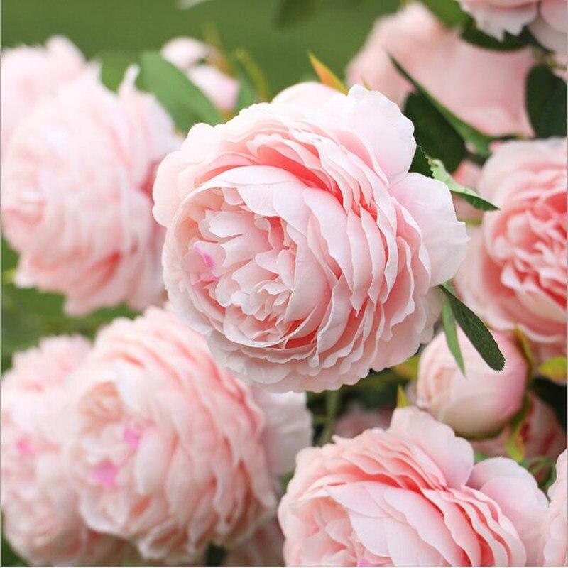 3 têtes européenne artificielle pivoine branche fleur artificielle printemps rose flores pour la maison de mariage bricolage décoration pas cher faux fleurs