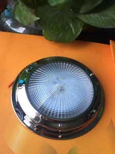 Image 1 - 12 В светодиодный купольный светильник из нержавеющей стали для морской лодки, яхты, фургона, дома на колесах, 4/5 дюймов, потолочный светильник для салона автомобиля