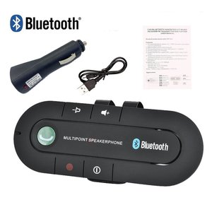 Image 2 - USB Bluetooth דיבורית לרכב אלחוטי Bluetooth רמקול טלפון MP3 מוסיקה נגן מגן שמש קליפ רמקול מטען לא aux