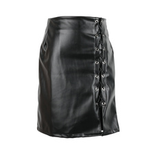 1 Pcs Woman Simple Design Black Solid PU Leather Sexy Design Skirts Side Split Mini High Waist Vintage Bandage Skirts