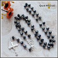 Religious Rosario Fancy 8 6mm Black Crystal Beads Rosary Catholic Silver Plated Chain Faceted Glass Jesus