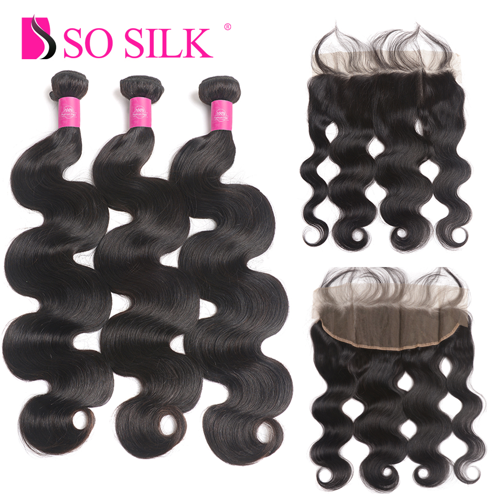 Body Wave Bundles with Frontal Human Hair 3 Bundles With Closure Brazilian Hair Weave Bundles With Frontal Closure Non Remy Hair
