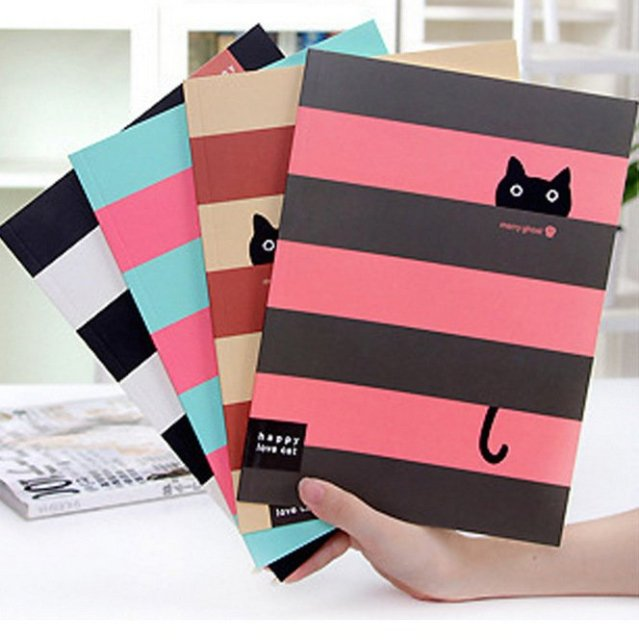 Cute Striped Cat Printed Notebook