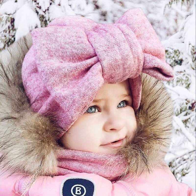 Baby Hat Cotton Big Bow Cap For Baby Girls Butterfly India Hat Scarf Set Children 39 s Winter Hats Caps in Hats amp Caps from Mother amp Kids