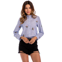 Spring Summer Striped Embroidered Women Casual Cotton Linen Shirts Flower Pattern Long sleeve Ladies Blouses Size Tops AD188