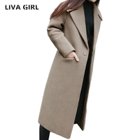 liva girl 2018 winter wool blends Coat Women Long slim Thicken warm Woolen Coats Plus Size 2XL women jacket coat New arrival