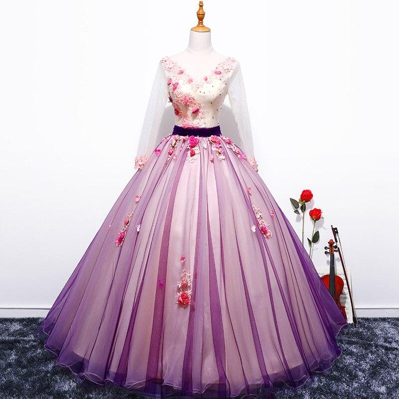 2018 nouvelle robe lilas spectacle solo robe de bal hôte