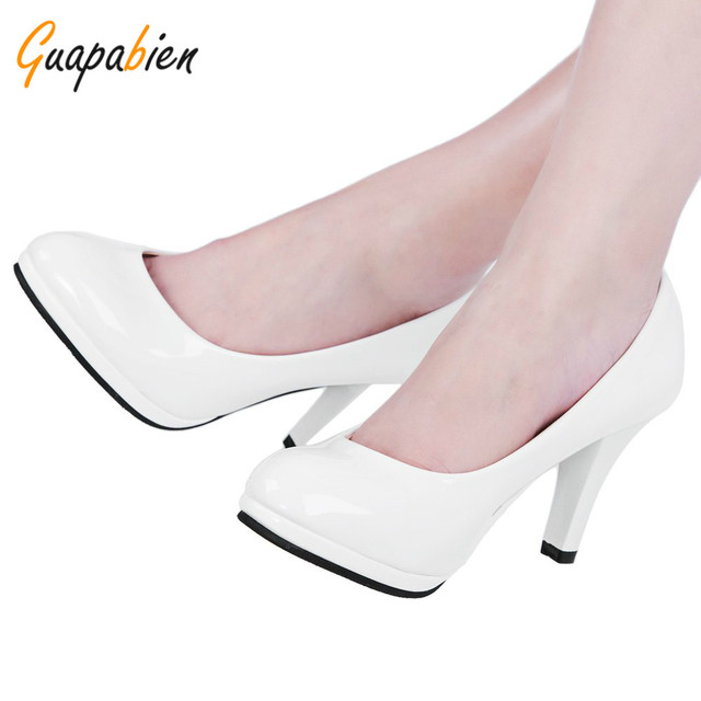 Guapbien Black Nude Shallow Mouth Round Toe Leather Shoes Thick High Heel Dress Shoes Brief Elegant Ladies Spring Wedding Pumps