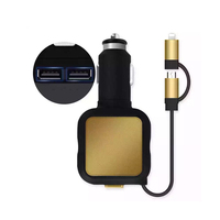Universal Car Charger USB with Telescopic Retractable Charging Cable Phone Charger for Samsung Android for iPhone 5 6 7 8 X iOS