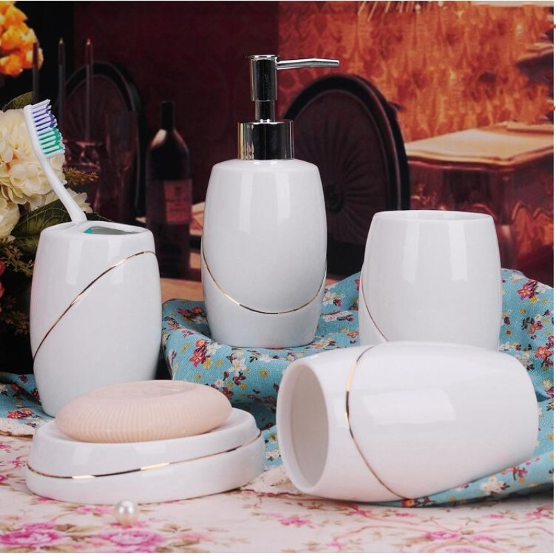 5pcs / lot white red Jingdezhen ceramic sanitary ware wedding decoration toothbrush holder lotion bottle soap box toiletries image