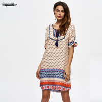 2017 Summer New Arrival Women Clothing Mini Holiday Beach Casual O Neck Short Or Long Sleeve