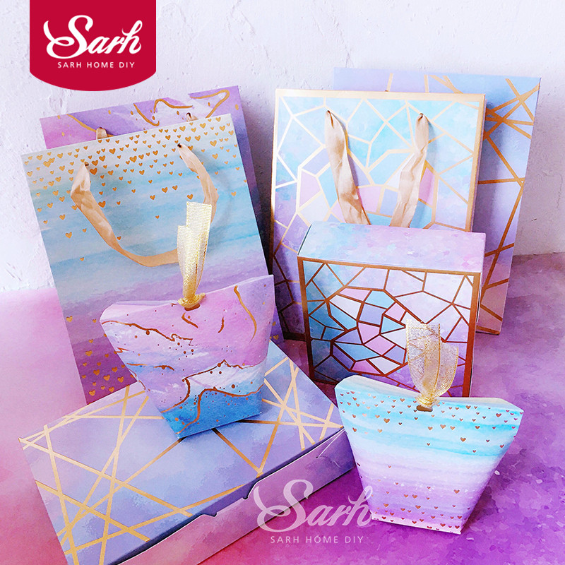 10Pcs/lot Romantic Bronzing Purple Love Starry Sky Cake Box Gift Box,Chocolate Muffin Biscuits Box for Cookie Package Gifts