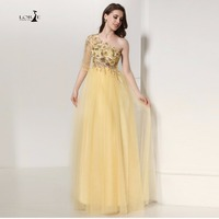 LORIE Long Gold Sequined Prom Dress Cheap Long Party Dresses Appliques A Line One Shoulder Yellow