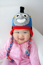 Thomas the Train Hat, Crochet Baby Hat, Train Hat, Baby Hat, Blue, photo prop, Inspired by Thomas the Train