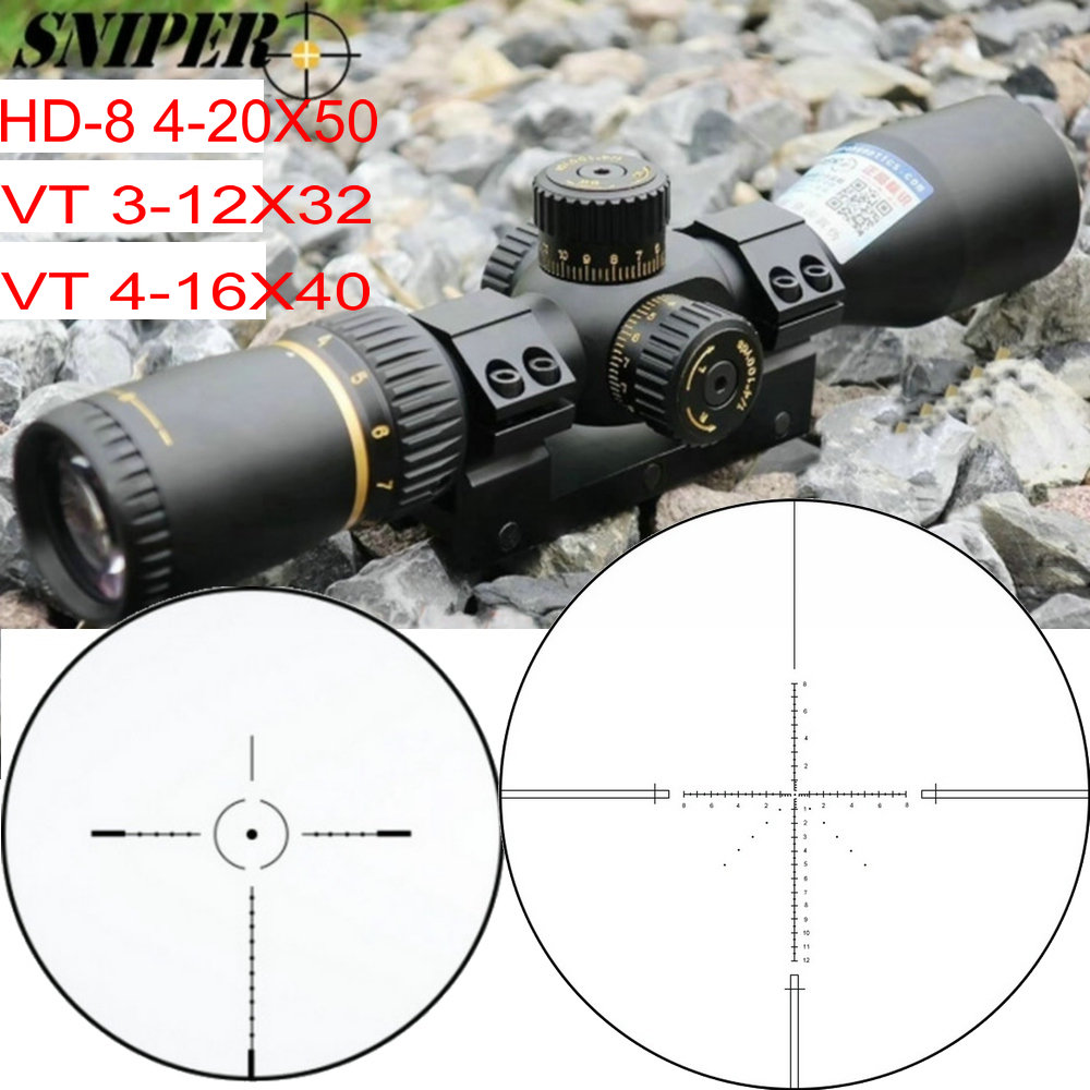 SNIPER VT 3-12X32 / HD-8 4-20X50 / VT 4-16X40 First Focal Plane Rifle Scope Reticle Tactical Optical Sight FFP Riflescopes