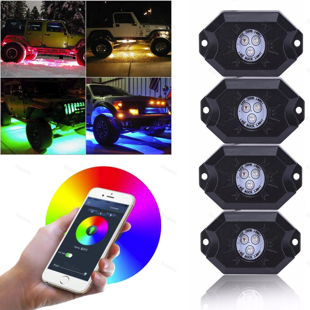 4pcs LED Rock Light 9W RGB with Timing Function Music Mode Bluetooth Control for Jeep Wrangler pu leather universal car seat cover for toyota corolla camry rav4 auris prius yalis avensis 2014 sticker accessories car styling
