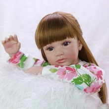 Reborn Baby girl Dolls 60 cm Silicone Realistic bebe Alive reborn kids Playmates Toy wholesale brown hair doll Xmas Gift