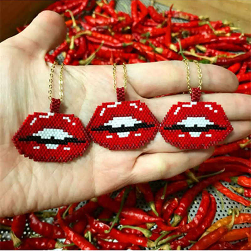 Go2boho MIYUKI Lips Necklace Red Lips Necklace Delicas Seed Beads Women Jewelry Kolye Gold Stainless Stee Chain Dropshipping
