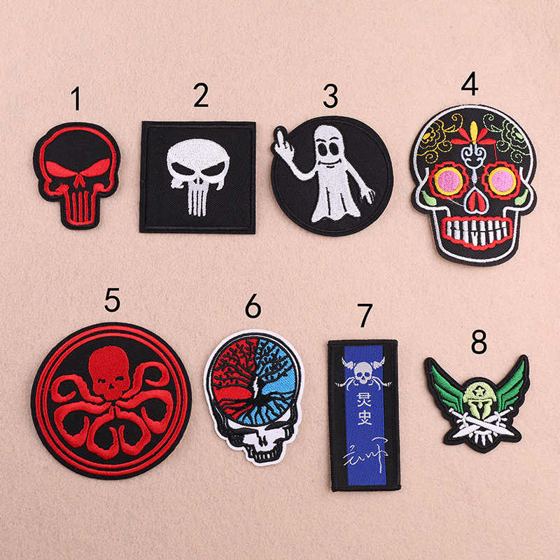 edfd2b97 ... White Sugar Skull Embroidered Patch for Clothing Iron on Sewing Applique  for Jackets Jeans Biker Clothes ...