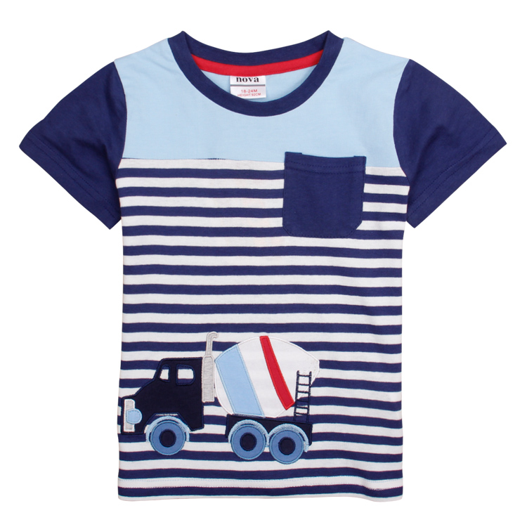 NOVA Boys' T-Shirts 2015 stylish design t Casual pocket car embroidery stripe t-shirt summer O-neck T-Shirts for 2-6y boys