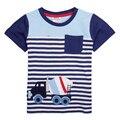 NOVA Boys' T-Shirts 2015 стильный дизайн футболки Повседневная карманный автомобилей вышивка полоса футболка летом О-Образным Вырезом Футболки для 2-6y мальчики