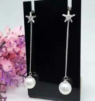 Bijoux de mariée livraison gratuite sellhot chaude vente 925 mode belle blanc cristal étoile à Cinq branches et perle Bijoux boucles d'oreilles - 4