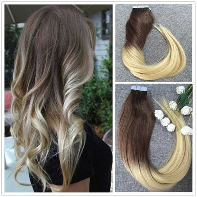 full shine ombre balayage color adhesive strong tape hair extensions skin weft dip dye color. Black Bedroom Furniture Sets. Home Design Ideas