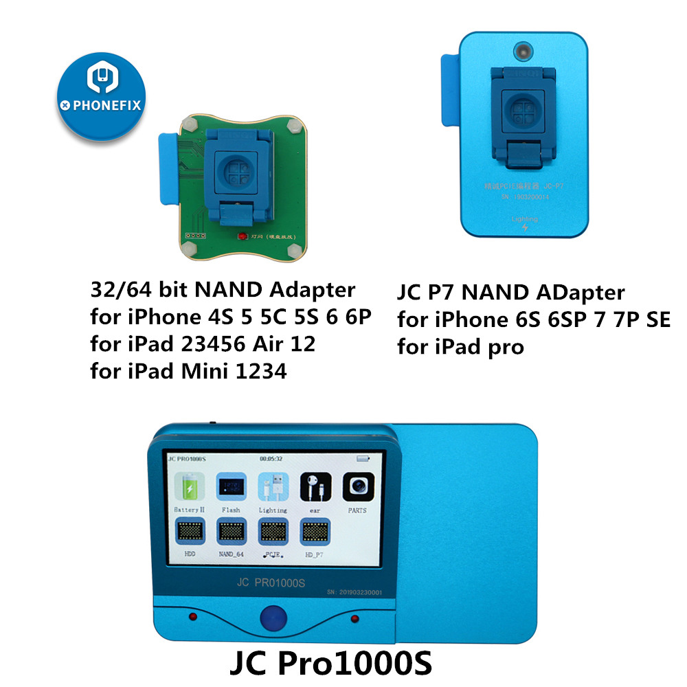 JC Pro1000S JC P7 PCIE NAND מתכנת 32/64 קצת HDD לקרוא לכתוב תיקון כלי עבור iPhone 7 7 P 6 6S 6P 6SP 5 4 כל iPad נעילה