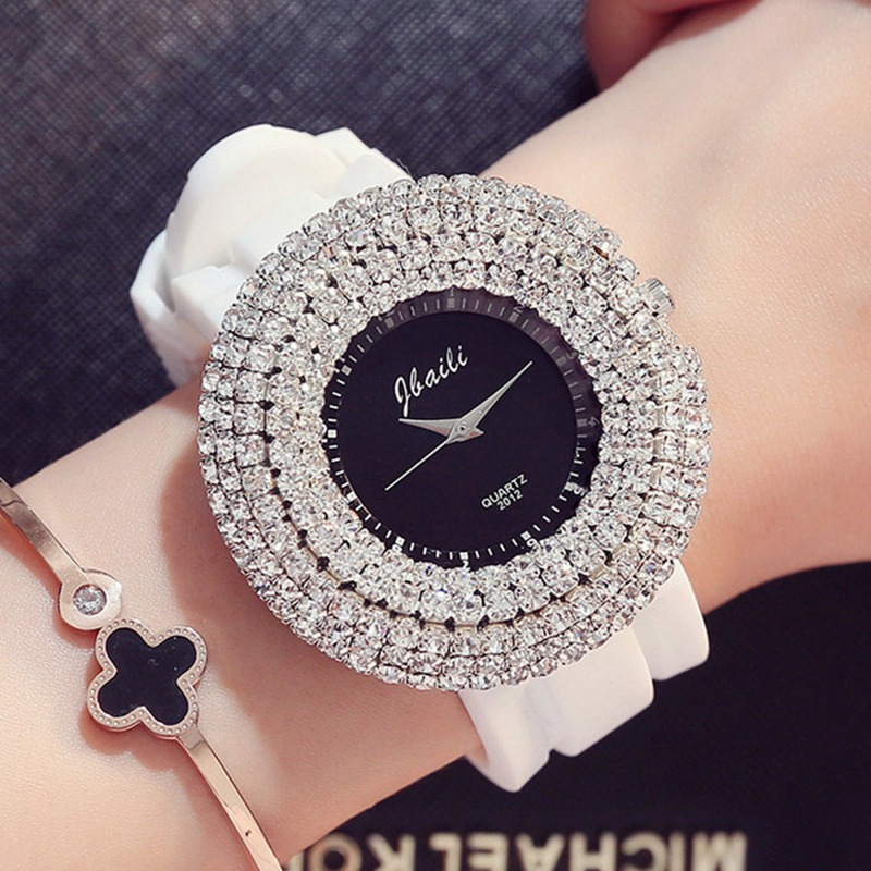 Womens Watches Top Brand  Luxury Diamond Watch 50mm Large Dial Silicone Fashion Quartz Watch Orologgi Donna Girl Gift Orologi