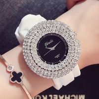 Женские часы лучший бренд Роскошные часы с кристаллами 50 мм большой циферблат силиконовые модные кварцевые часы Orologgi Donna Girl подарок Orologi